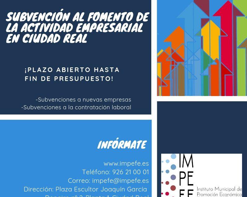 PUBLICADAS LAS BASES REGULADORAS DE SUBVENCIÓN DEL IMPEFE PARA EL FOMENTO DE LA ACTIVIDAD EMPRESARIAL EN CIUDAD REAL, XV CONVOCATORIA