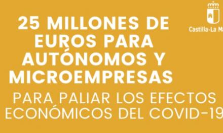 NUEVA MEDIDA APROBADA POR EL CONSEJO DE GOBIERNO: 25 MILLONES DE EUROS PARA AUTÓNOMOS Y MICROPYMES DE CASTILLA-LA MANCHA