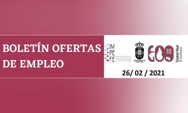BOLETÍN OFERTAS DE EMPLEO 26/02/2021