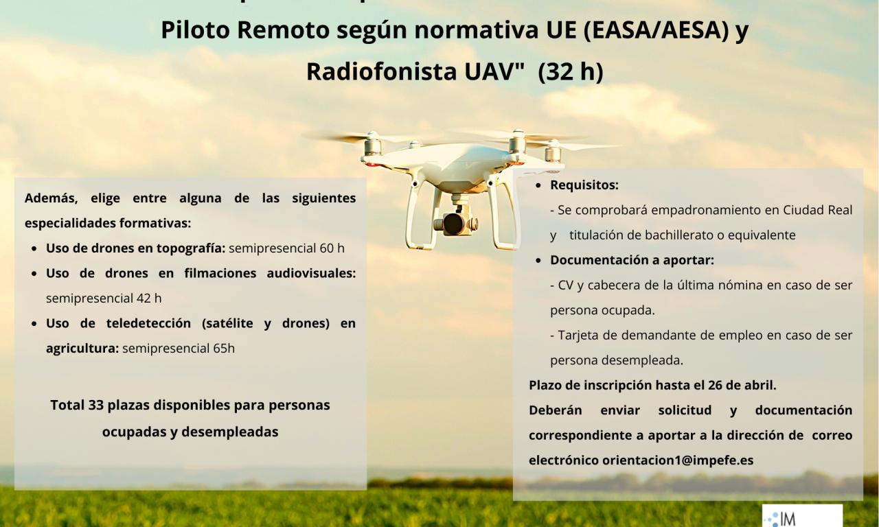 Curso preparatorio para la obtención del Certificado Piloto Remoto de drones y Radiofonista