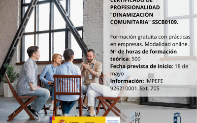 """Abierto el plazo de inscripción del curso de """"Dinamización Comunitaria"""" que ha organizado el IMPEFE"""